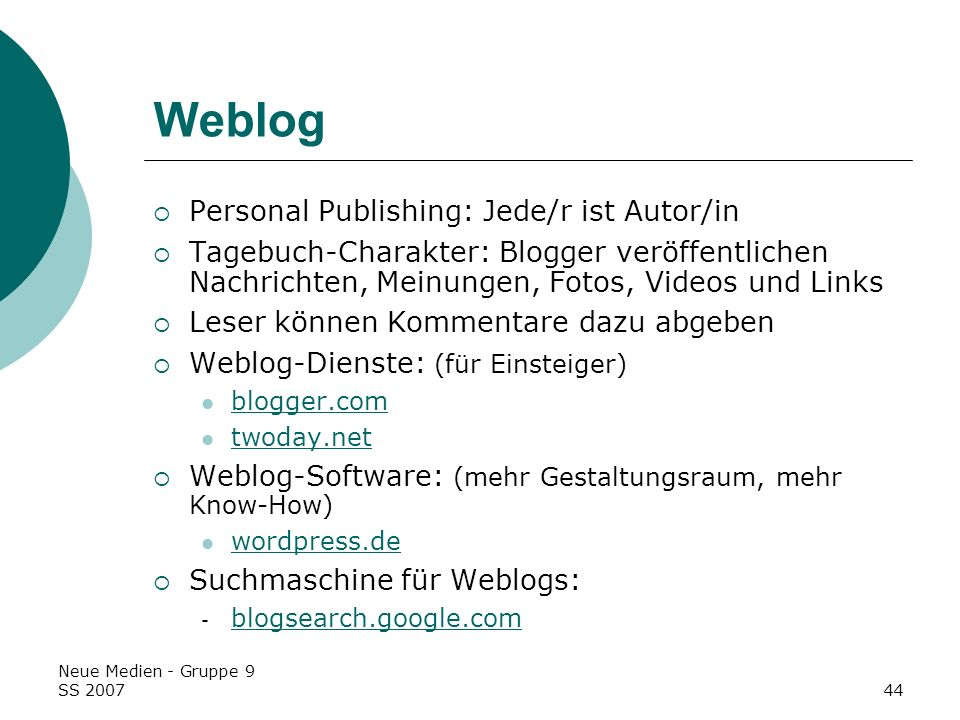 Weblog Personal Publishing: Jede/r ist Autor/in