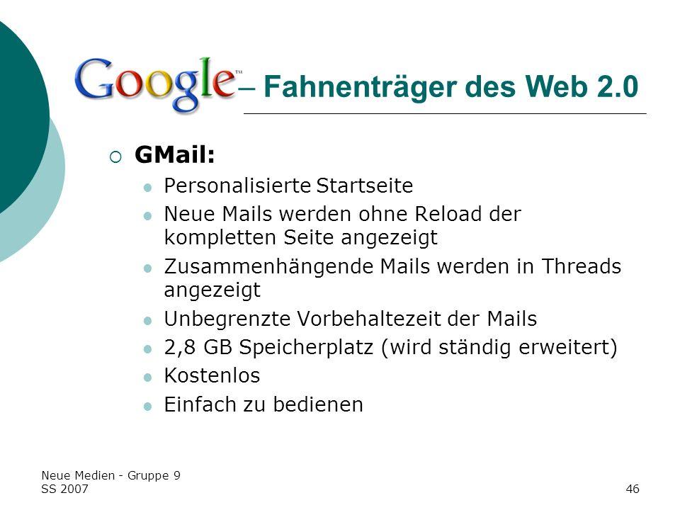 – Fahnenträger des Web 2.0 GMail: Personalisierte Startseite