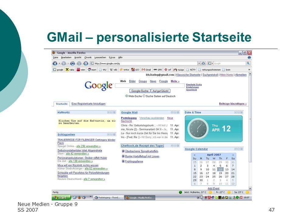 GMail – personalisierte Startseite