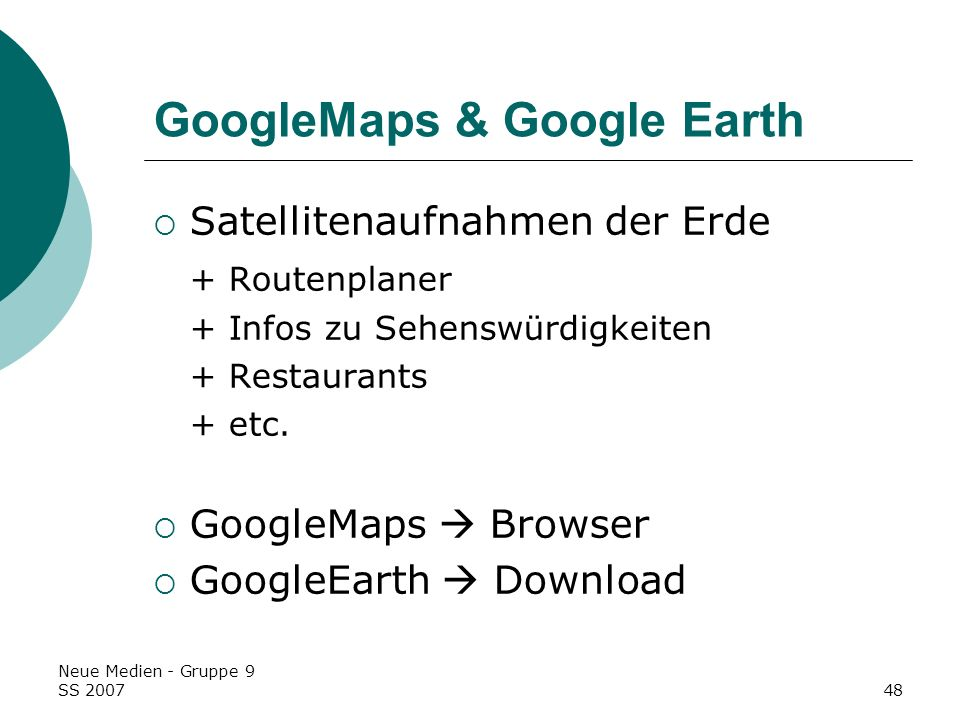 GoogleMaps & Google Earth