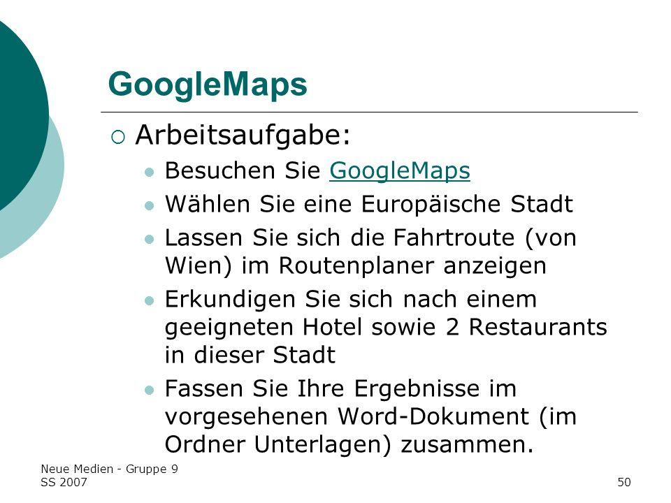 GoogleMaps Arbeitsaufgabe: Besuchen Sie GoogleMaps