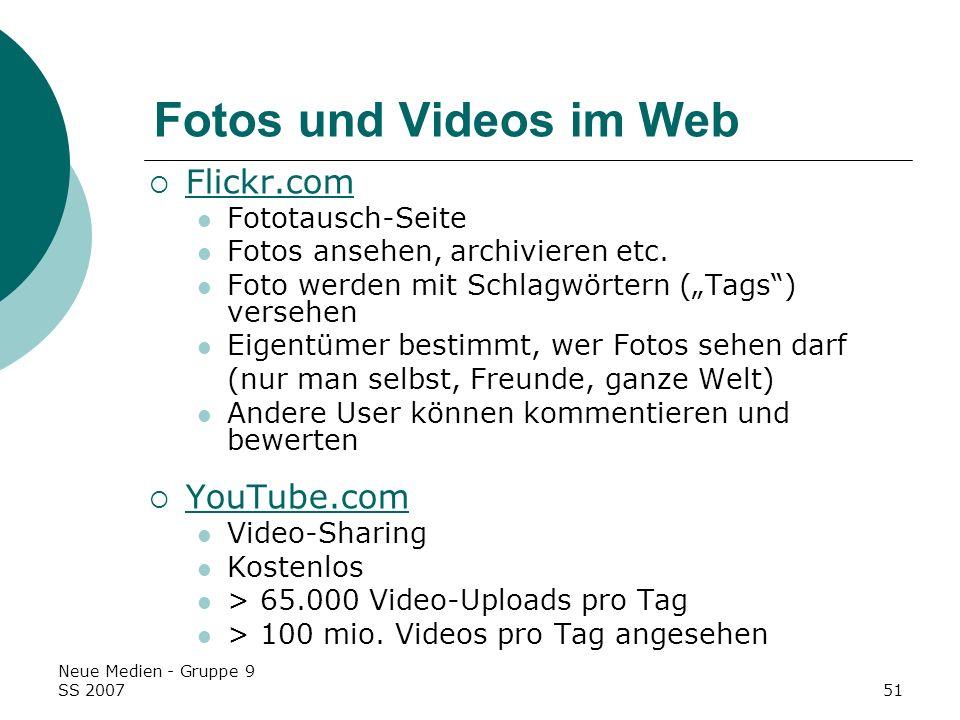 Fotos und Videos im Web Flickr.com YouTube.com Fototausch-Seite