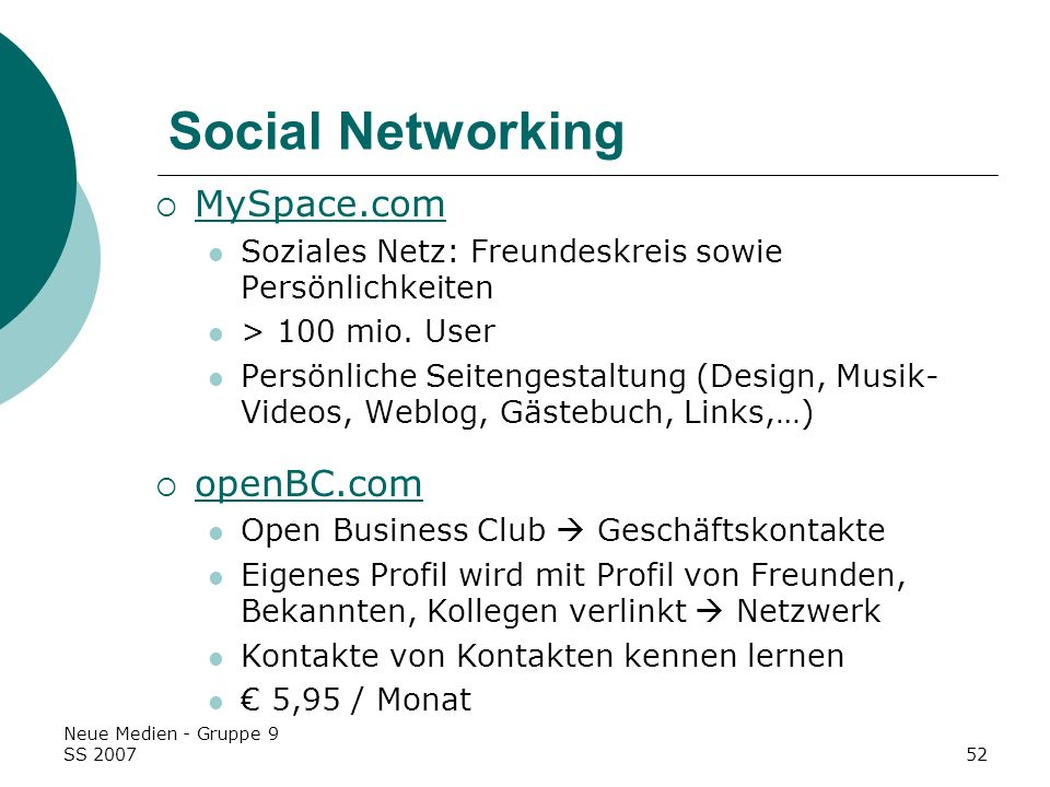 Social Networking MySpace.com openBC.com