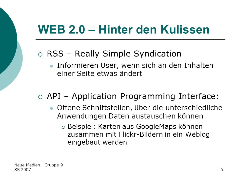 WEB 2.0 – Hinter den Kulissen