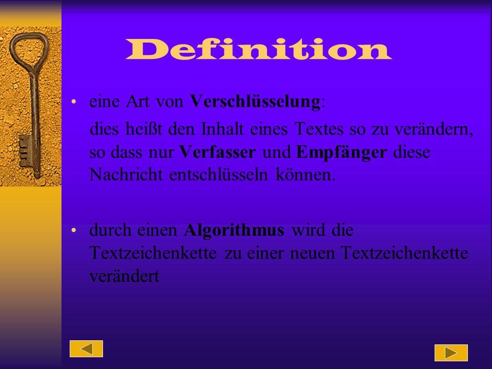 Definition eine Art von Verschlüsselung: