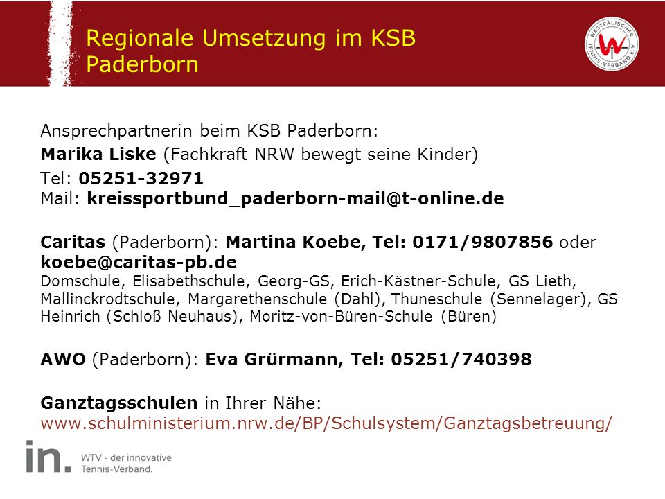 Regionale Umsetzung im KSB Paderborn