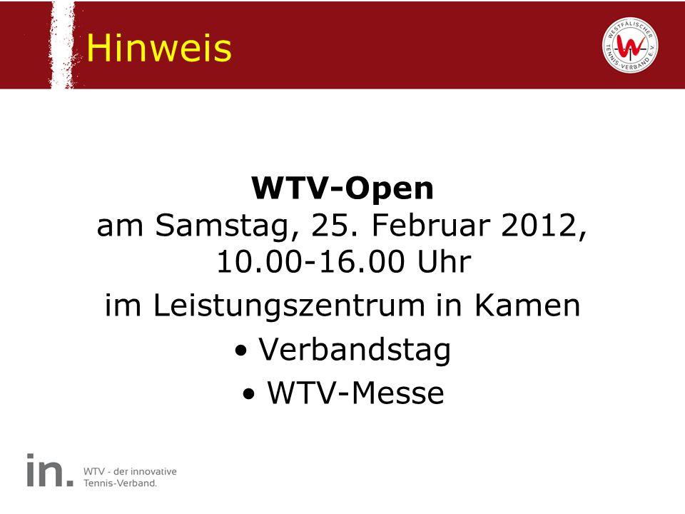 Hinweis WTV-Open am Samstag, 25. Februar 2012, 10.00-16.00 Uhr