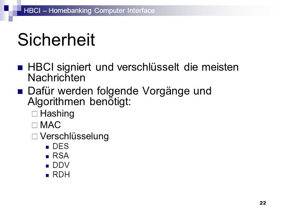 Sicherheit HBCI signiert und verschlüsselt die meisten Nachrichten