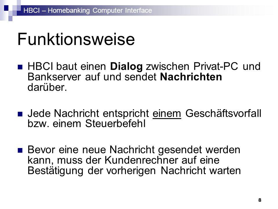 Funktionsweise HBCI baut einen Dialog zwischen Privat-PC und Bankserver auf und sendet Nachrichten darüber.