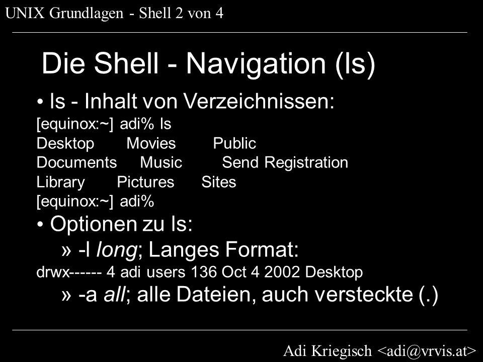 Die Shell - Navigation (ls)