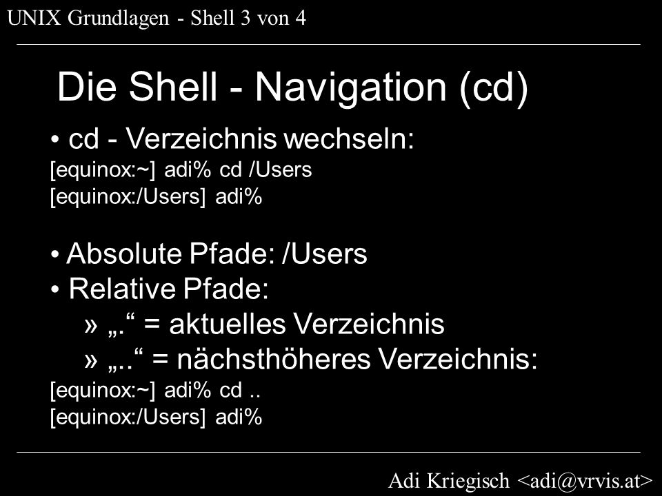Die Shell - Navigation (cd)