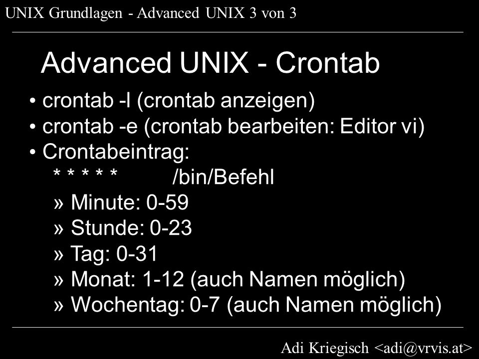 Advanced UNIX - Crontab