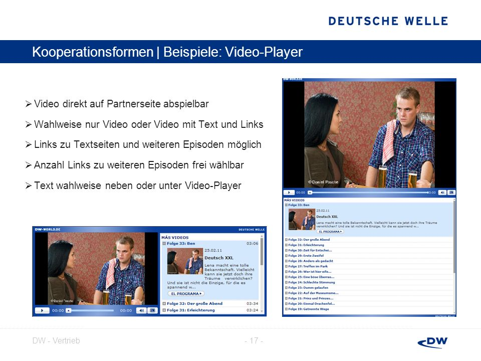 Kooperationsformen | Beispiele: Video-Player