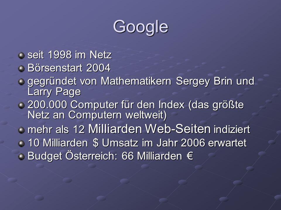 Google seit 1998 im Netz Börsenstart 2004