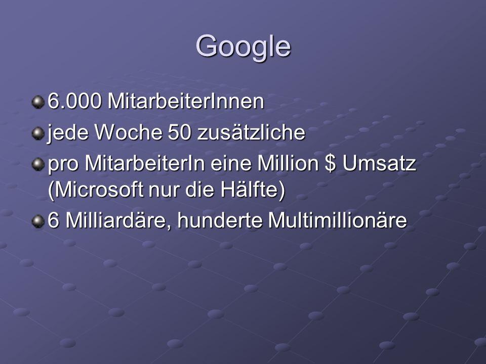 Google 6.000 MitarbeiterInnen jede Woche 50 zusätzliche