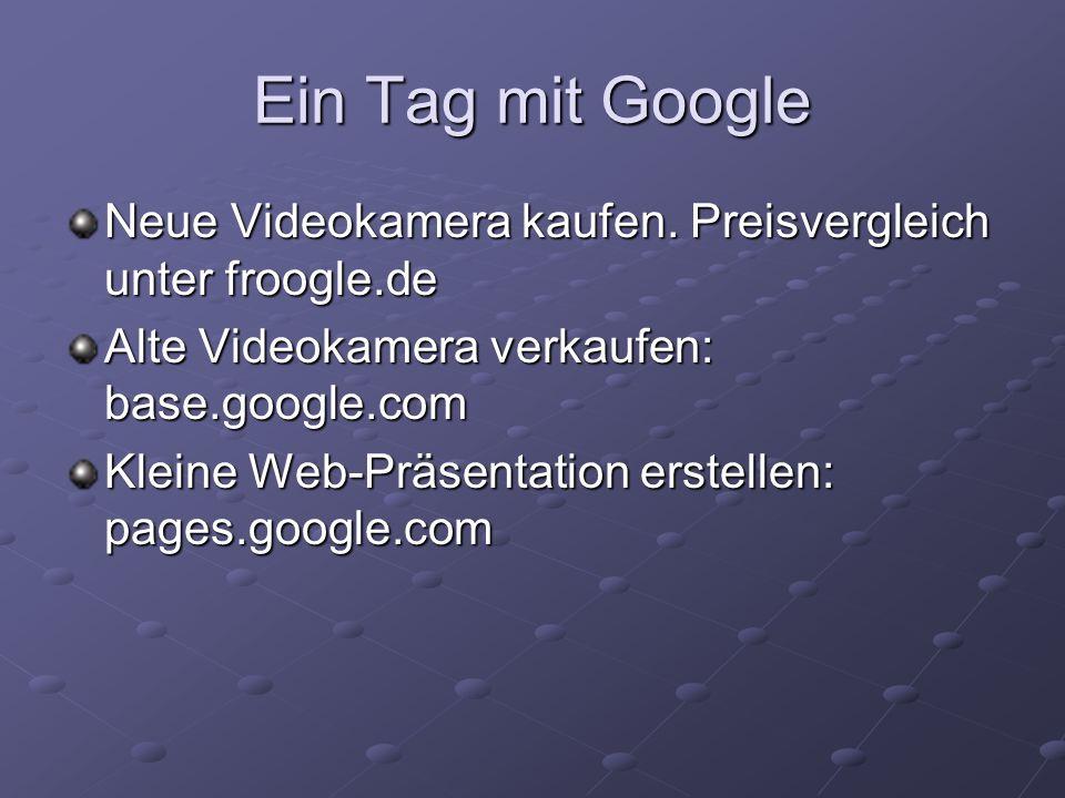Ein Tag mit GoogleNeue Videokamera kaufen. Preisvergleich unter froogle.de. Alte Videokamera verkaufen: base.google.com.