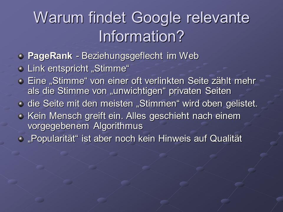 Warum findet Google relevante Information