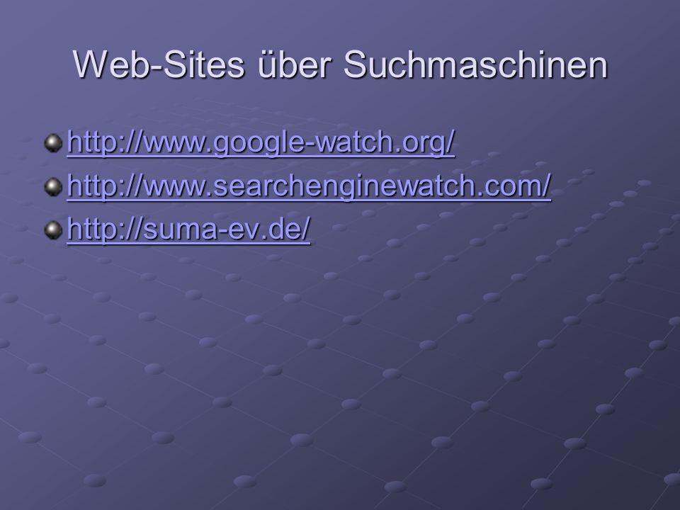 Web-Sites über Suchmaschinen