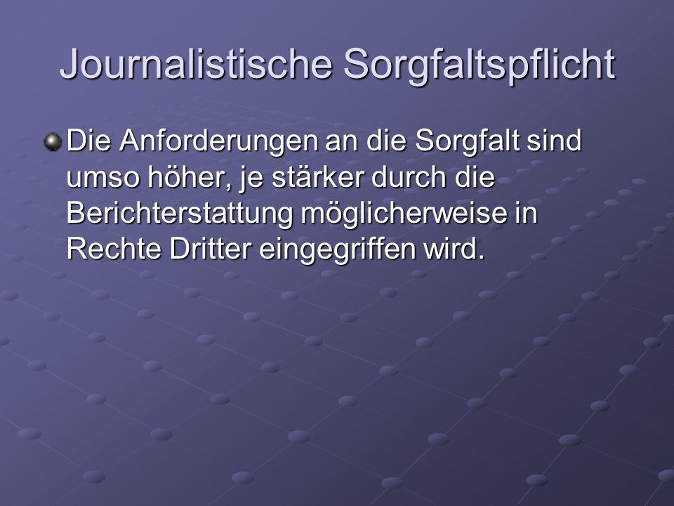Journalistische Sorgfaltspflicht