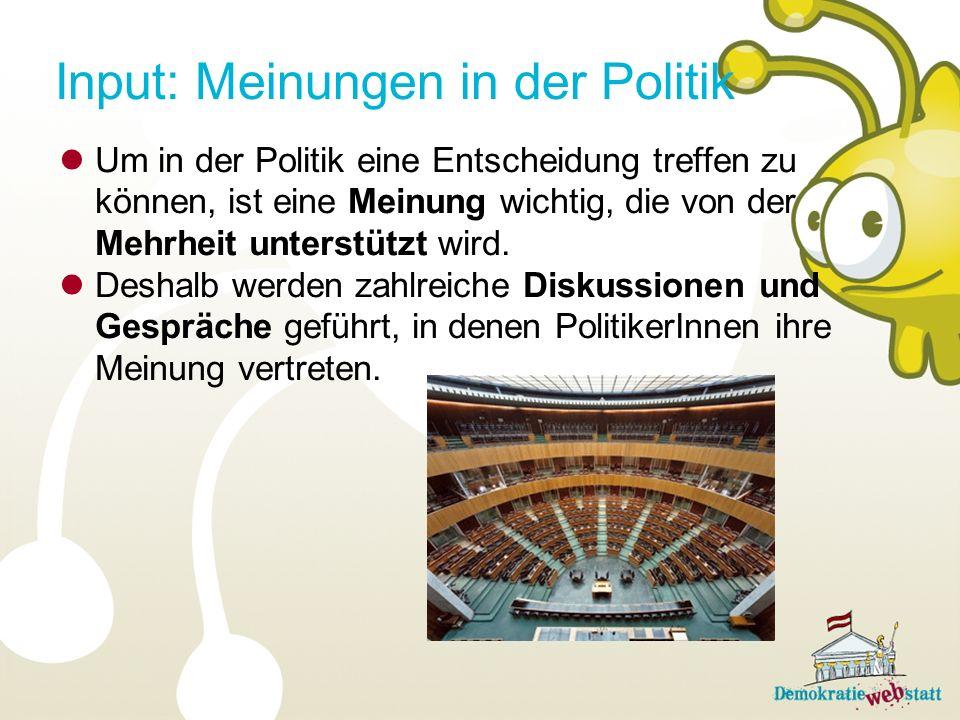 Input: Meinungen in der Politik