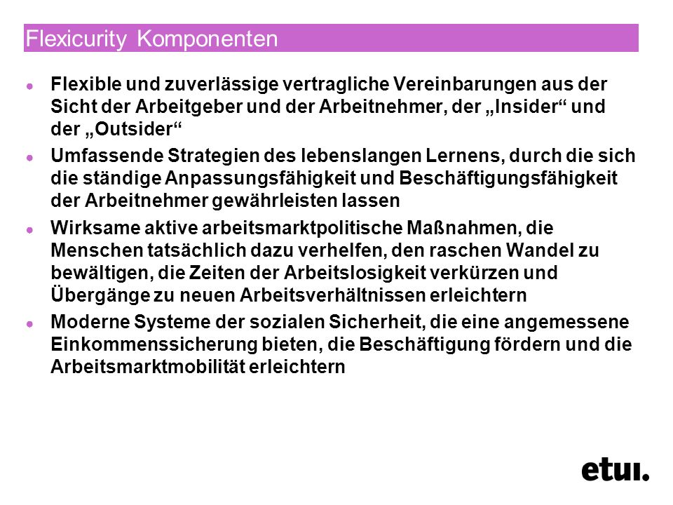 Flexicurity Komponenten