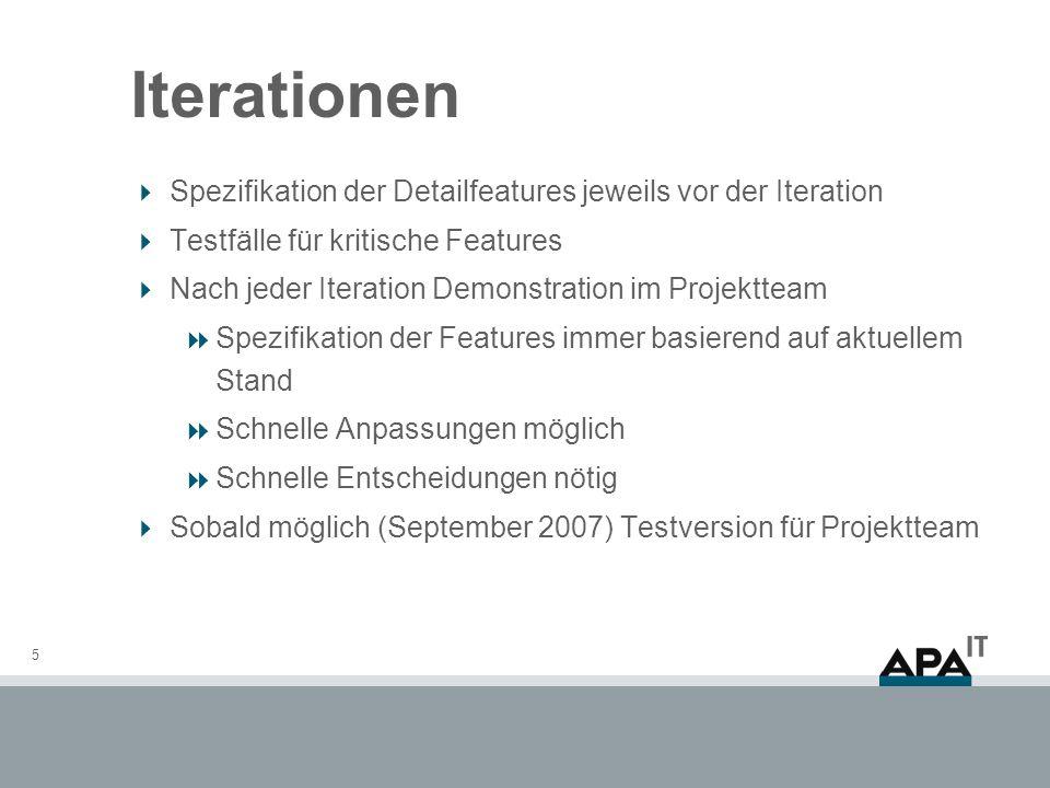 Iterationen Spezifikation der Detailfeatures jeweils vor der Iteration