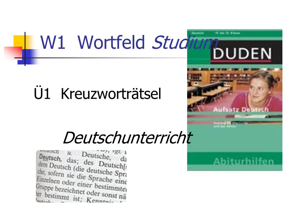 W1 Wortfeld Studium Ü1 Kreuzworträtsel Deutschunterricht