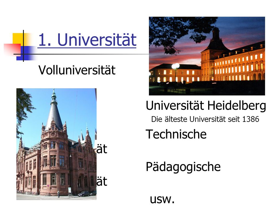 1. Universität Volluniversität Universität Heidelberg