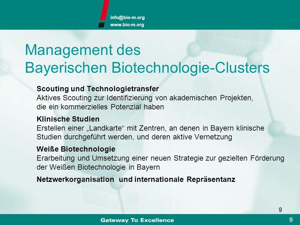 Management des Bayerischen Biotechnologie-Clusters
