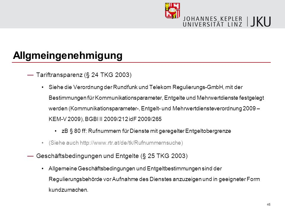Allgmeingenehmigung Tariftransparenz (§ 24 TKG 2003)
