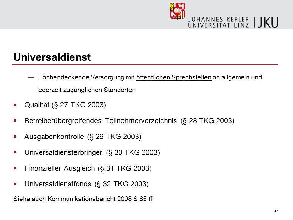 Universaldienst Qualität (§ 27 TKG 2003)