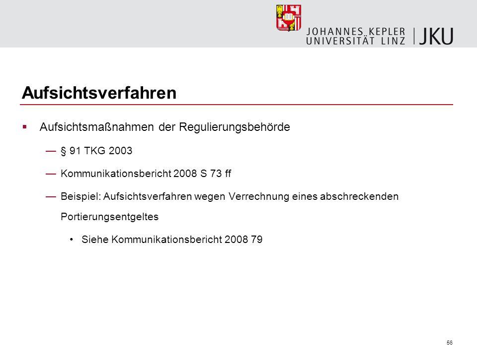 Aufsichtsverfahren Aufsichtsmaßnahmen der Regulierungsbehörde