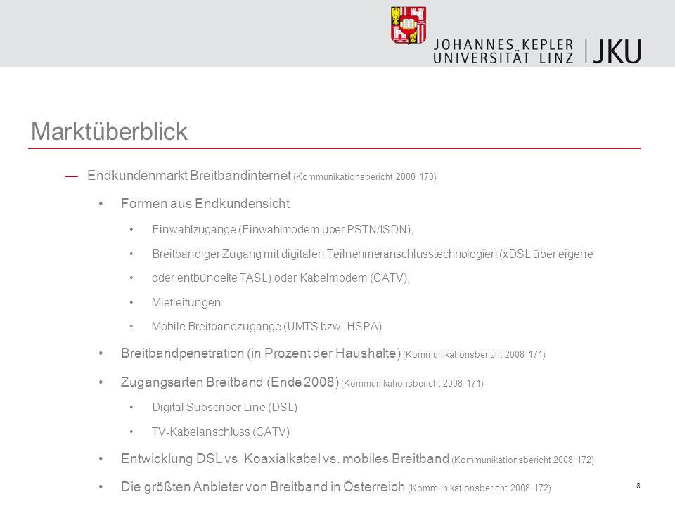 Marktüberblick Endkundenmarkt Breitbandinternet (Kommunikationsbericht 2008 170) Formen aus Endkundensicht.