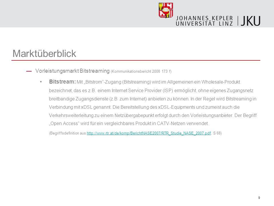 Marktüberblick Vorleistungsmarkt Bitstreaming (Kommunikationsbericht 2008 173 f)