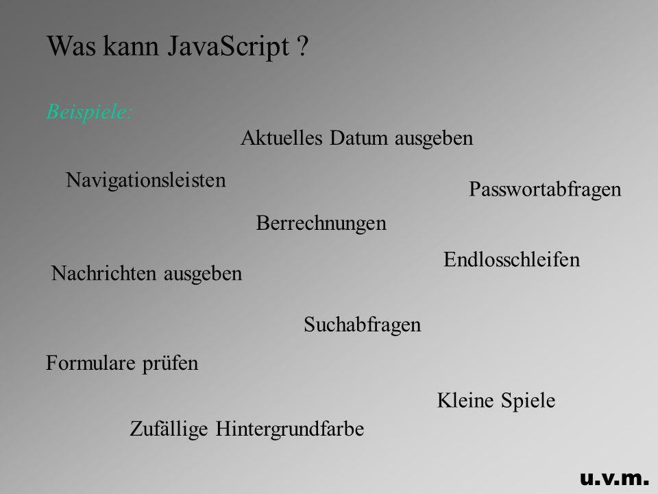 Was kann JavaScript Beispiele: Aktuelles Datum ausgeben