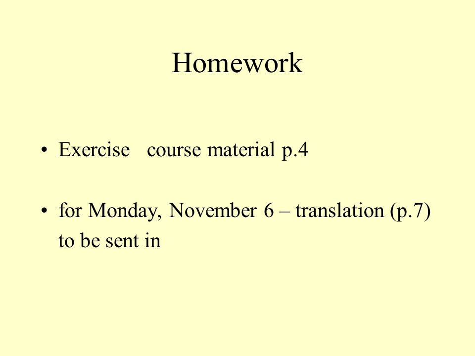 Homework Exercise course material p.4