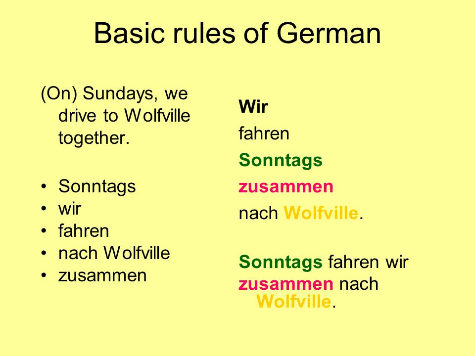 Basic rules of German Wir