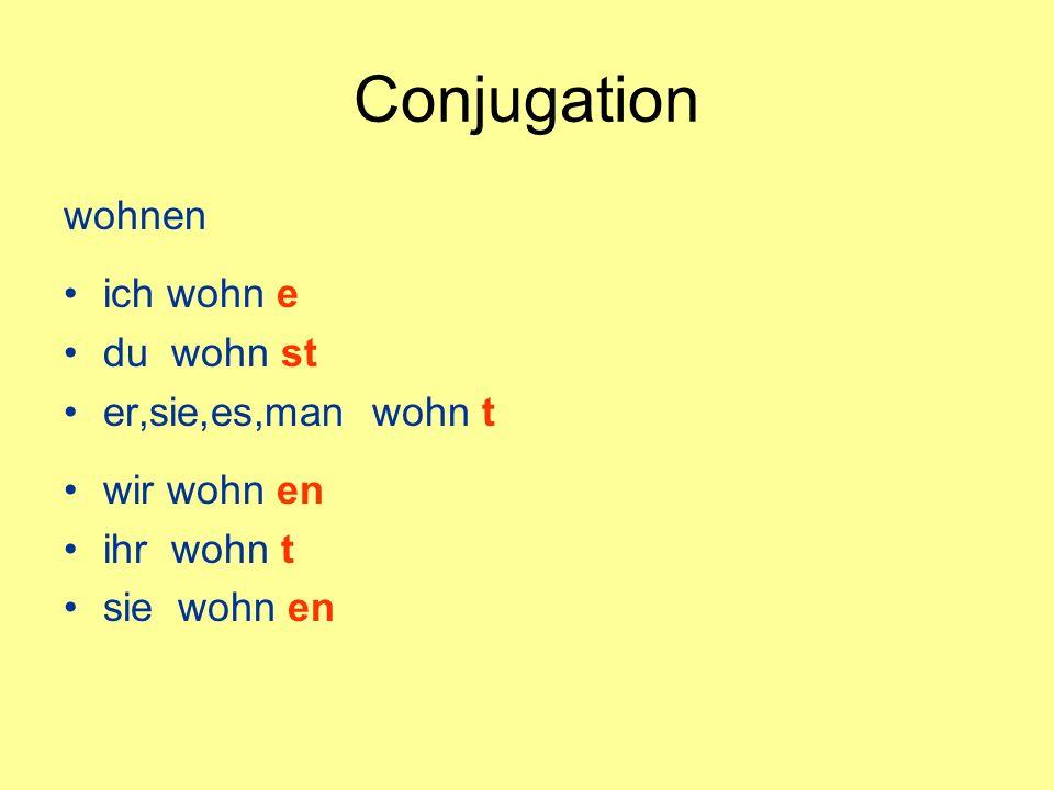 Conjugation wohnen ich wohn e du wohn st er,sie,es,man wohn t