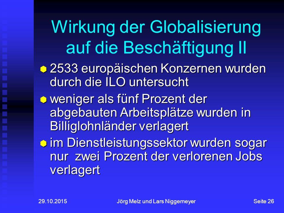 Wirkung der Globalisierung auf die Beschäftigung II