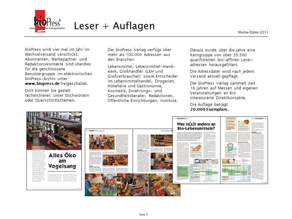 ® Leser + Auflagen. Media-Daten 2011.