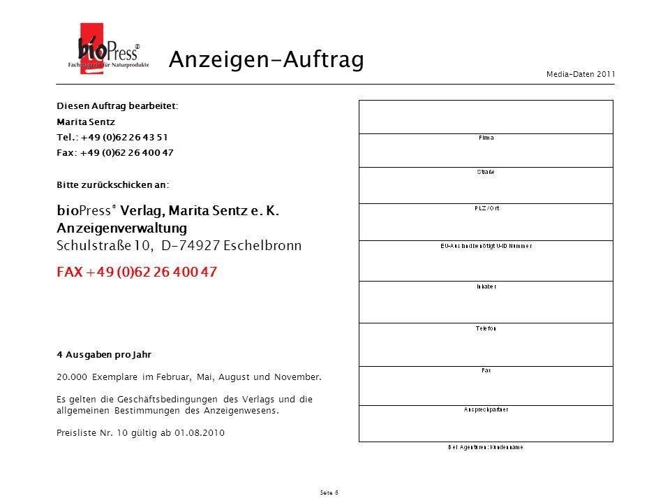 Anzeigen-Auftrag bioPress® Verlag, Marita Sentz e. K.