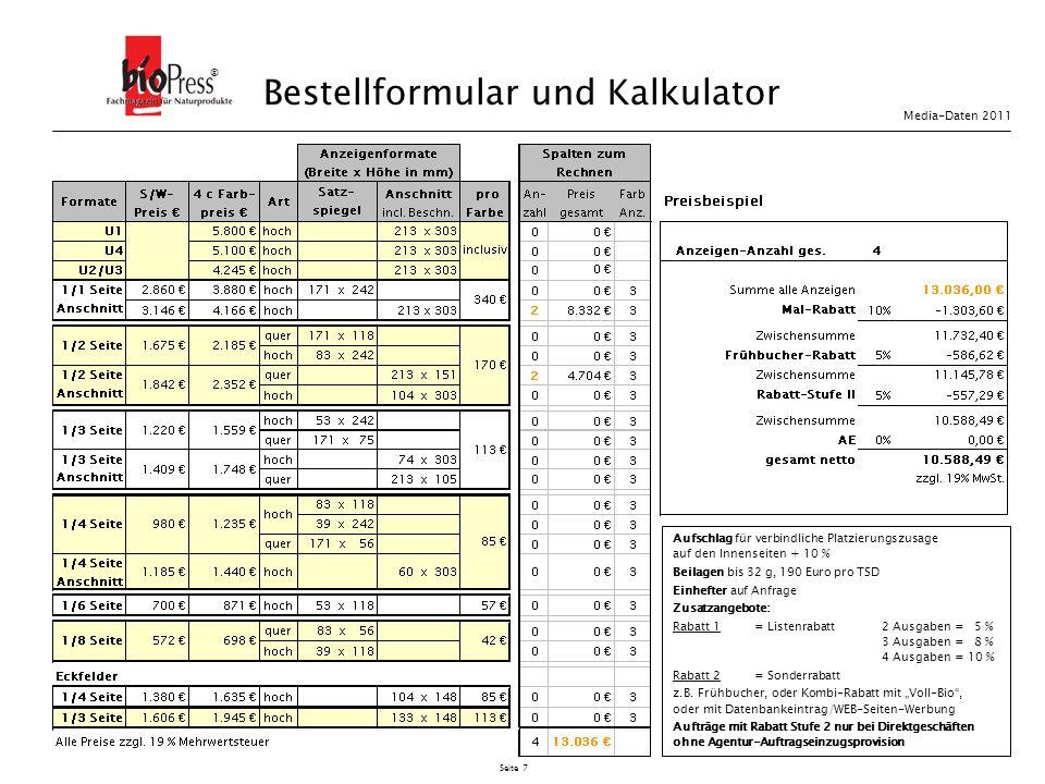 Bestellformular und Kalkulator