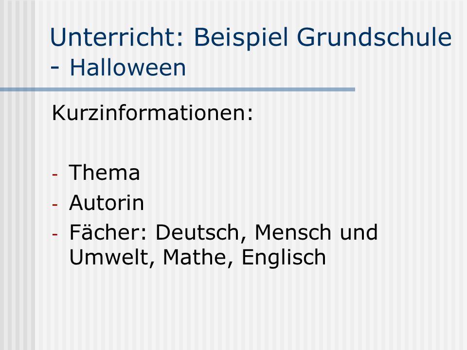 Unterricht: Beispiel Grundschule - Halloween