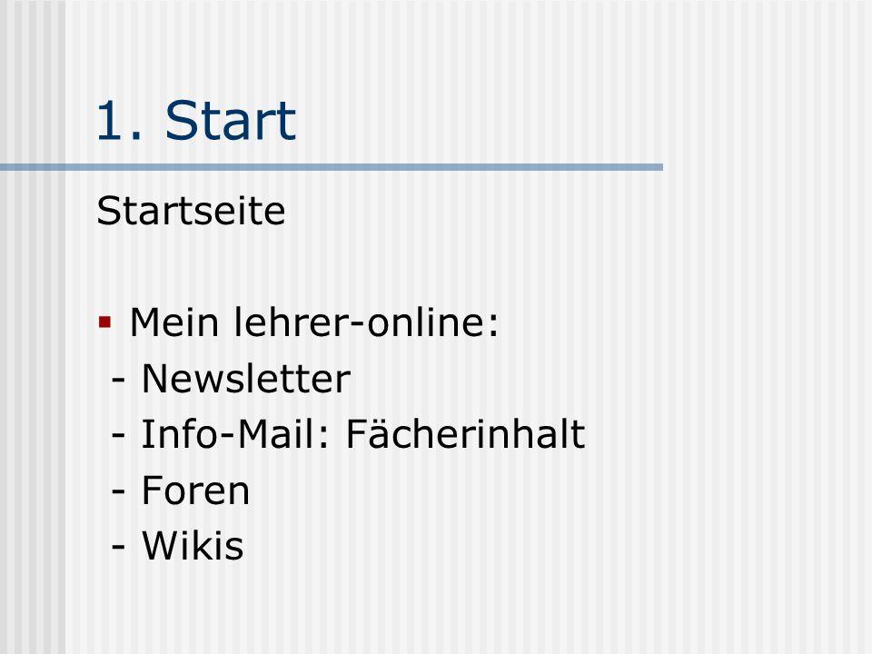 1. Start Startseite Mein lehrer-online: - Newsletter