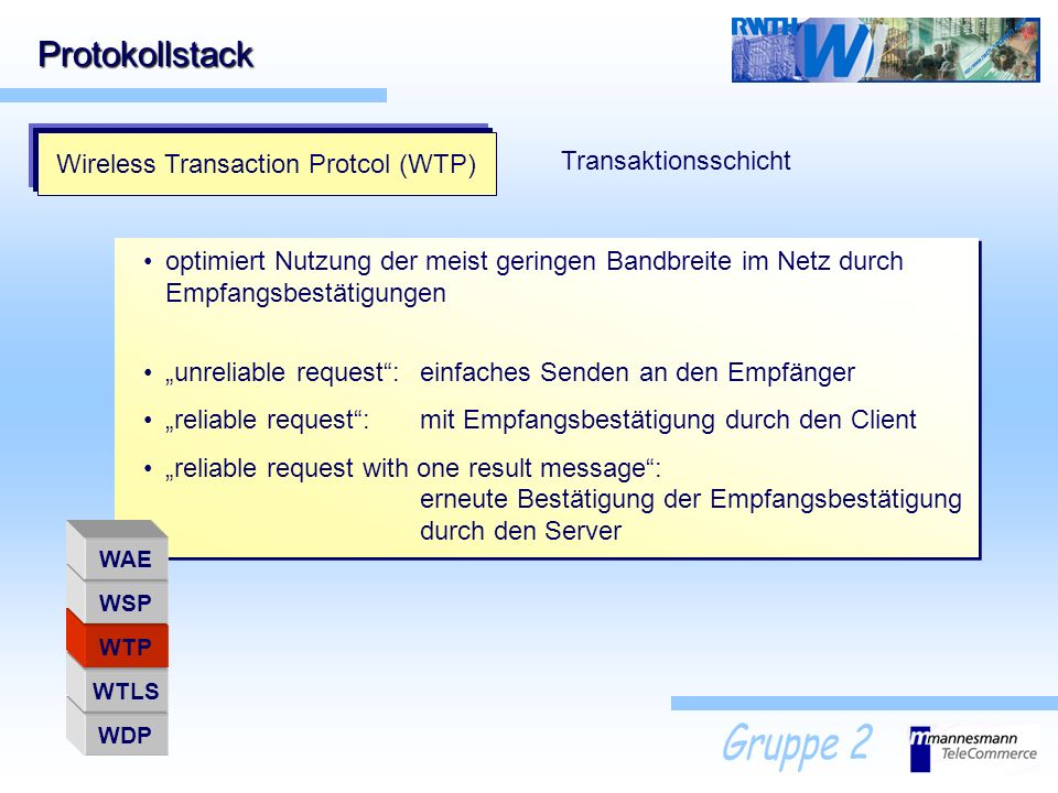 Wireless Transaction Protcol (WTP)