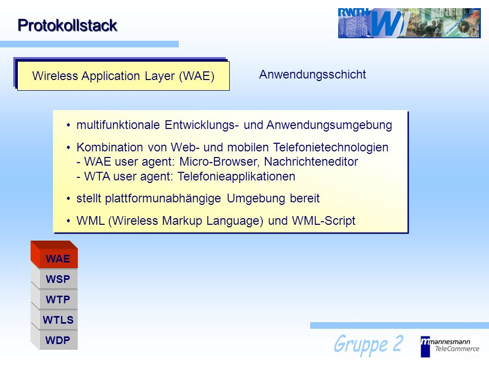 Wireless Application Layer (WAE)