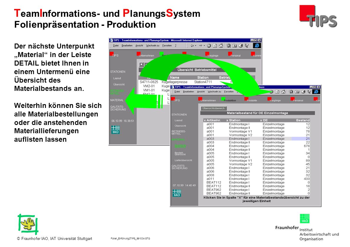 Folienpräsentation - Produktion