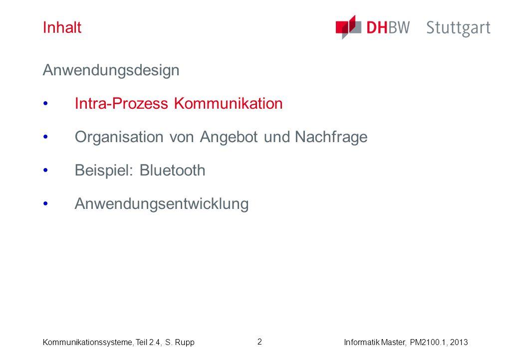 Inhalt Anwendungsdesign. Intra-Prozess Kommunikation. Organisation von Angebot und Nachfrage. Beispiel: Bluetooth.