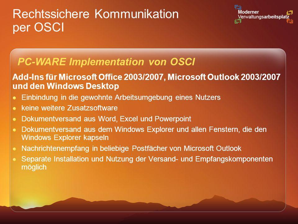 Rechtssichere Kommunikation per OSCI