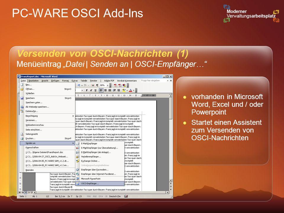 PC-WARE OSCI Add-Ins Versenden von OSCI-Nachrichten (1)